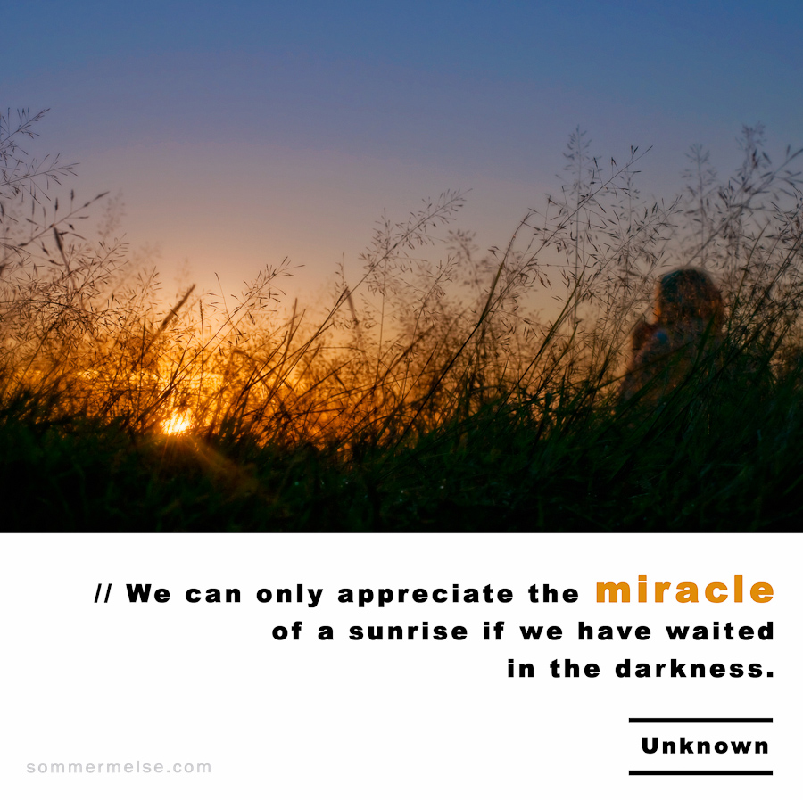 Visual Inspiration 365 - We can only appreciate the miracle of a sunrise if we have waited in the darkness - Uknown